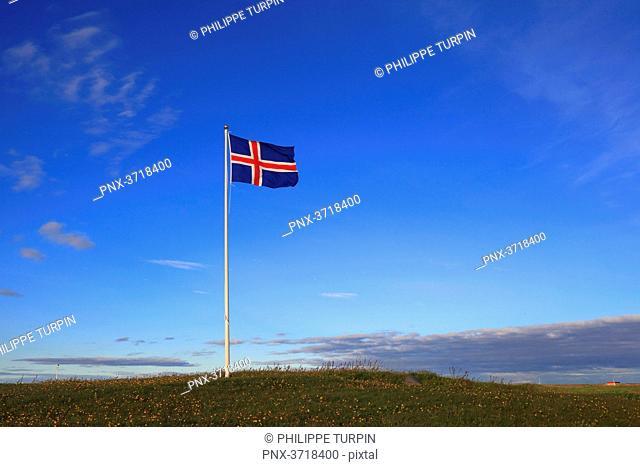 Iceland, flag in blue sky