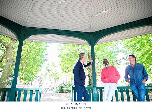 Three mature men standing under bandstand, talking