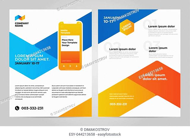 Layout template design with Mobile application. Business brochure flyer design layout