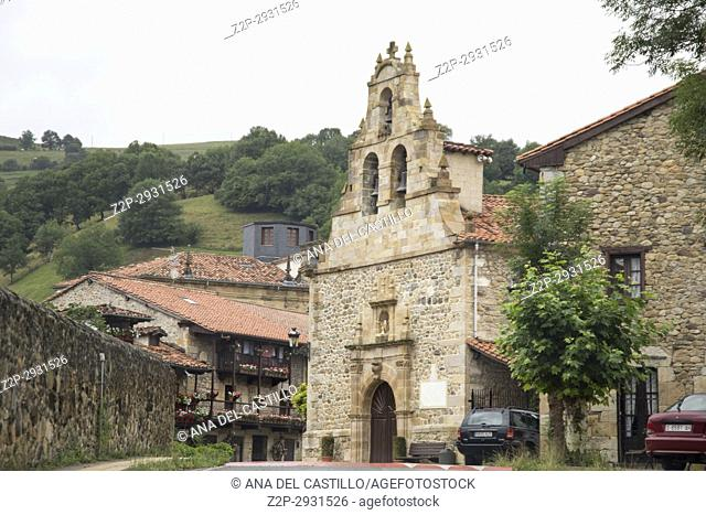 Villacarriedo village Cantabria valley Spain. San Martin church