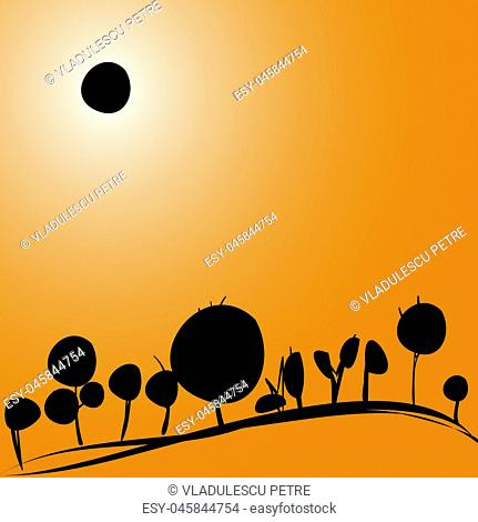 landscape with solar eclipse