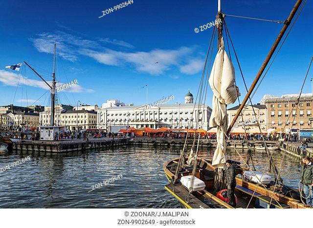 old sailing boats in helsinki city harbor port finland