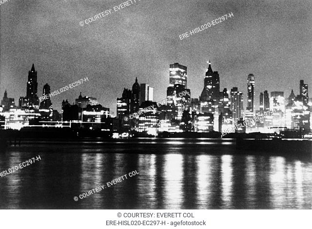 New York City skyline, after blackout of November 9-10, 1965 when the power was restored