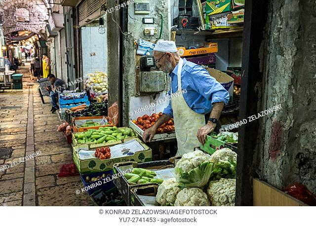 greengrocery at Arab market that sprawls across Christian and Moslem Quarters on the Old City of Jerusalem, Israel