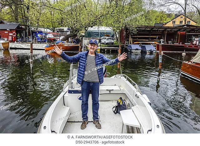 STOCKHOLM, SWEDEN Annual spring boat launch in local boat club, Heleneborgsbåtklubb