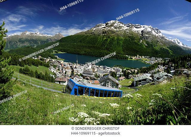 Engadin, Engadine, Corviglia, railway, Saint Moritz, St. Moritz, canton, GR, Graubünden, Grisons, Upper Engadine, mountain road, Switzerland, Europe