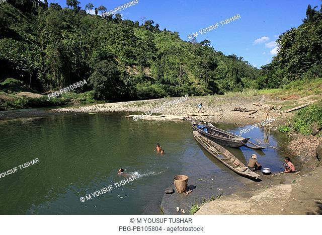 Natural view of the Sangu River at Thanchi Bandarban, Bangladesh December 2009
