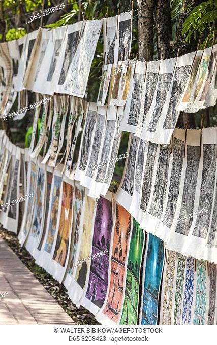 Laos, Luang Prabang, art prints for sale along Mekong Riverfront