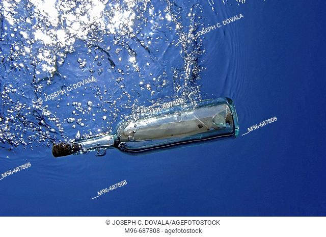 Message in a bottle, underwater view