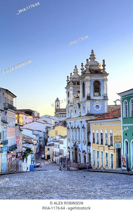 Pelourinho in city centre with Our Lady of the Roasary of Black People (Nossa Senhora do Rosario dos Pretos), UNESCO World Heritage Site, Salvador de Bahia