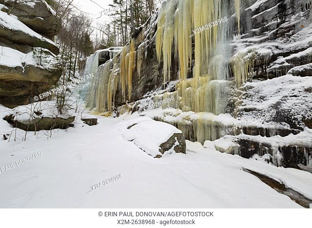 Pitcher Falls during the winter months in Albany, New Hampshire USA. This waterfall is located next to Champney Falls along Champney Falls Trail