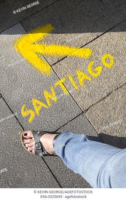 Santiago Direction Sign with Female Leg, Leon, Spain