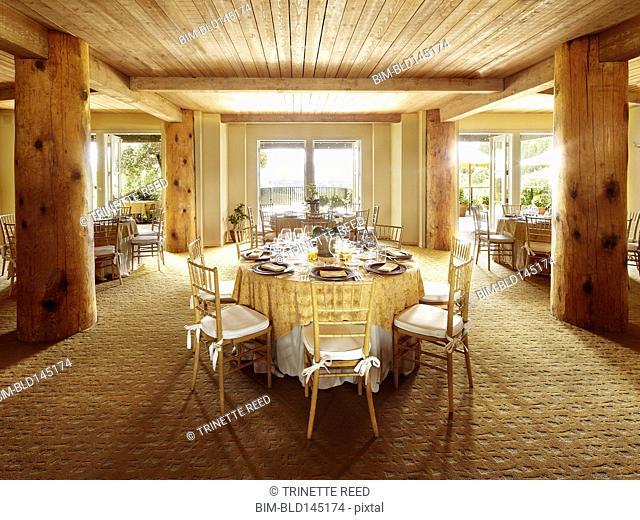 Empty dining room of fancy restaurant at luxury resort hotel in Napa Valley, California