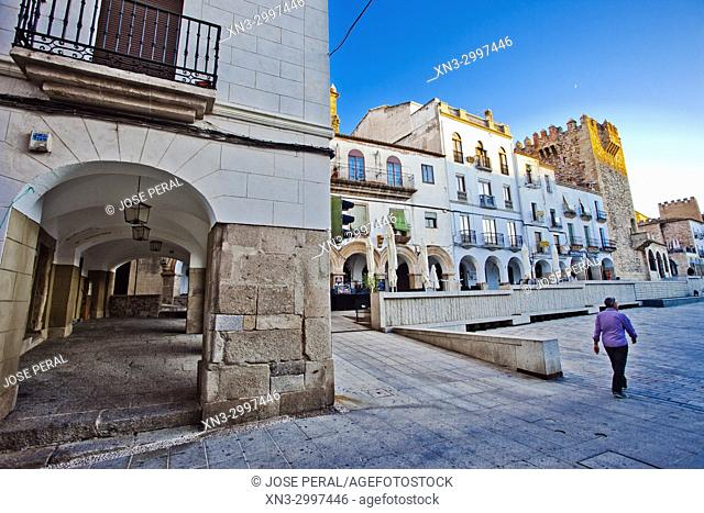 On background Bujaco Tower, Plaza Mayor, Old Town of Cáceres, medieval town, World Heritage City by UNESCO, Caceres City, Cáceres Province, Extremadura, Spain