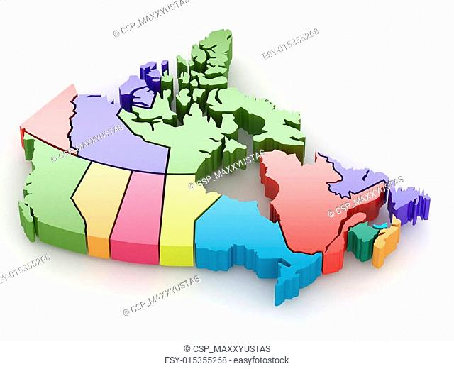 Three-dimensional map of Canada. 3d