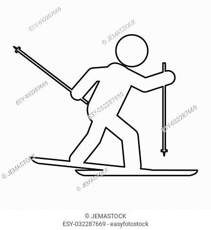 simple flat design skiing pictogram icon vector illustration