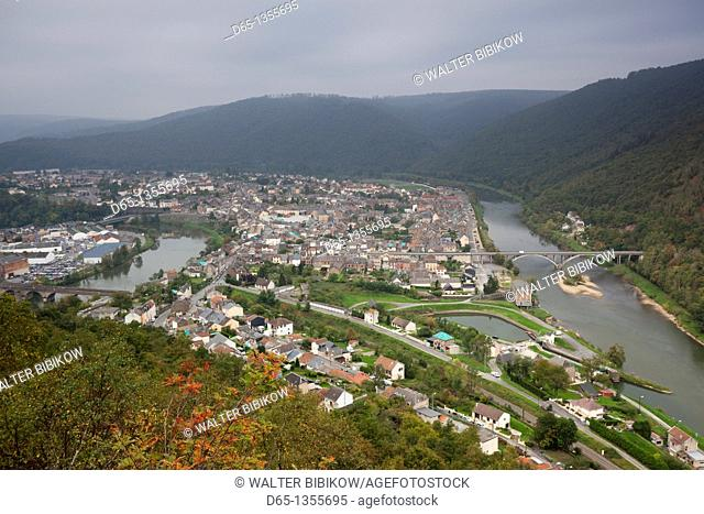 France, Ardennes, Meuse River Valley, Revin, town overview