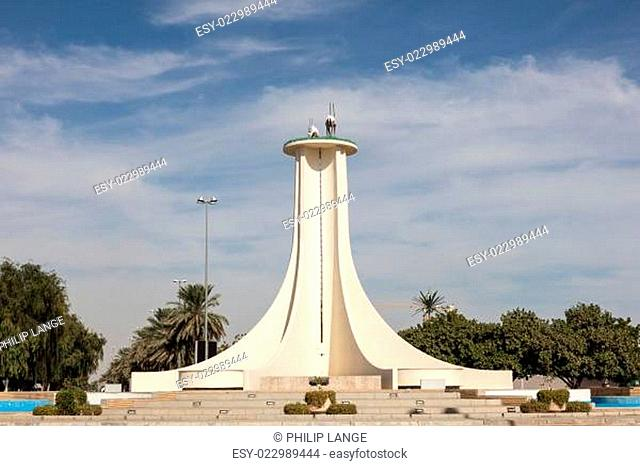 Oryx monument in a roundabout in Al Ain city. Emirate of Abu Dhabi, United Arab Emirates