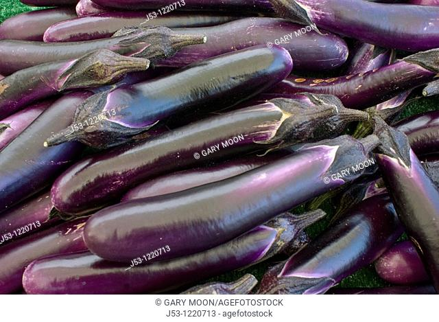 Organic eggplants at farmers market in upscale California city near San Francisco