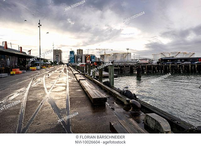 Harbour in Auckland after thunderstorm at sunset, New Zealand