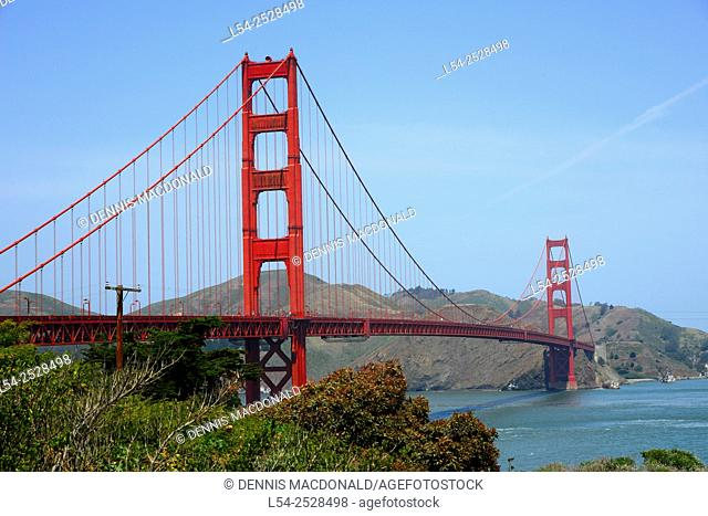 Golden Gate Bridge San Francisco Bay California CA Red