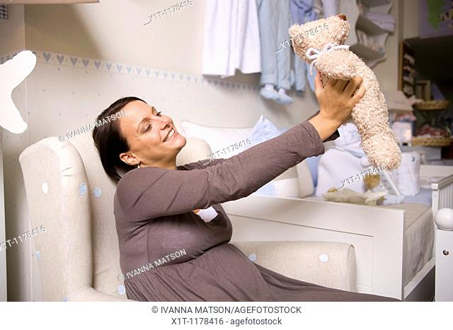 Pregnant women with Stuffed Animals