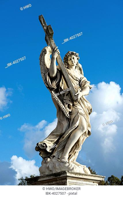 Angel with the Cross (Angelo con la Croce), by Ercole Ferrata, angel statues with symbols of the Passion by Bernini, Ponte Sant'Angelo, Rome, Lazio, Italy