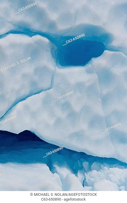 Detail of an iceberg calved from the LeConte Glacier just outside Petersburg, Southeast Alaska, USA. Pacific Ocean