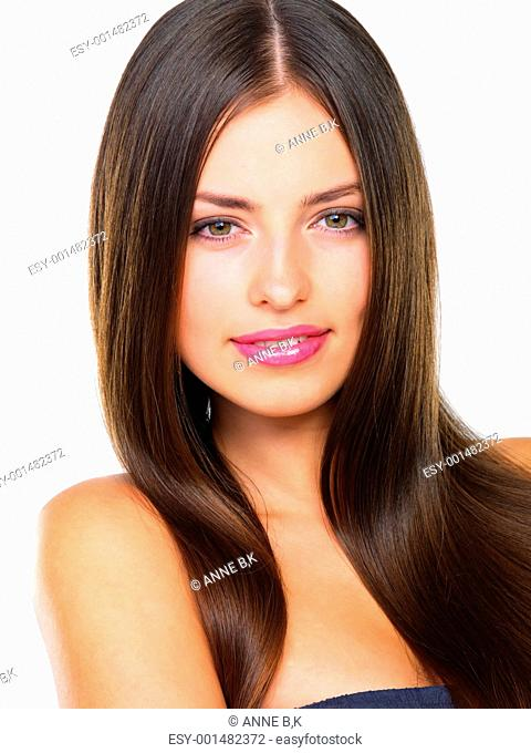 Portrait of charming Caucasian female with beautiful hair smiling over white background