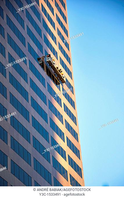 Professional Window Cleaner at Downtown Denver, Colorado