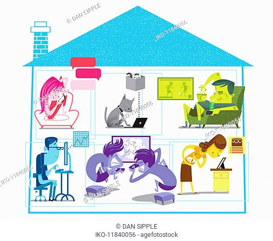 Cross section of house with family using various computer technology devices