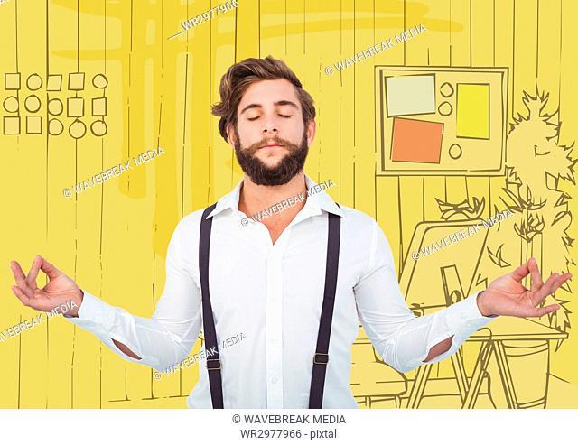Millennial man meditating against 3D yellow hand drawn office