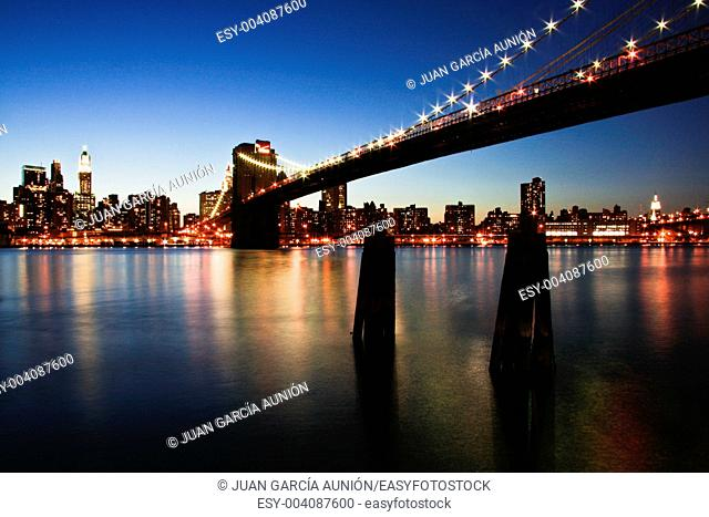 The Brooklyn Bridge at night, New York City