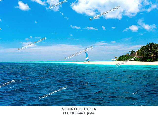 Blue ocean, sailboat on beach, Maldives