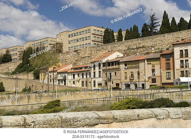View of the city of Salamanca, with wall and terraced houses, province of Salamanca, Castilla y Leon, Spain