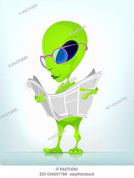 Cartoon Character Funny Alien Isolated on Grey Gradient Background. News. Vector EPS 10