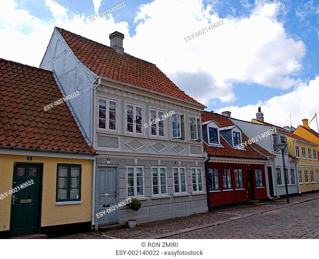 Old style danish houses Odense Denmark