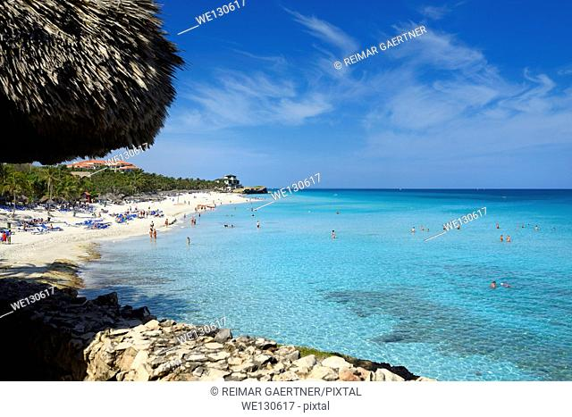 White sand beach and turquoise water at resorts of Varadero Cuba