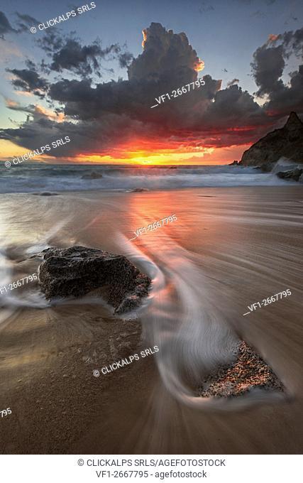 Capo Vaticano Coast, Capo Vaticano, Tropea, Tyrrhenian Sea, Tyrrhenian Coast, Mar Tirreno, Calabria, Italy. Sunset in Capo Vaticano Coast
