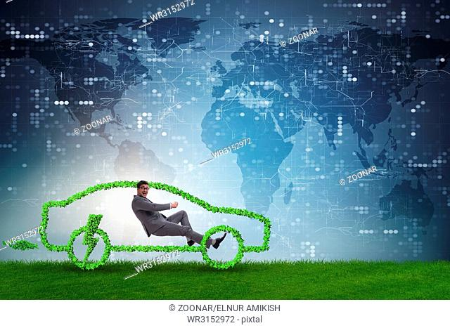 Electric car concept in green environment concept