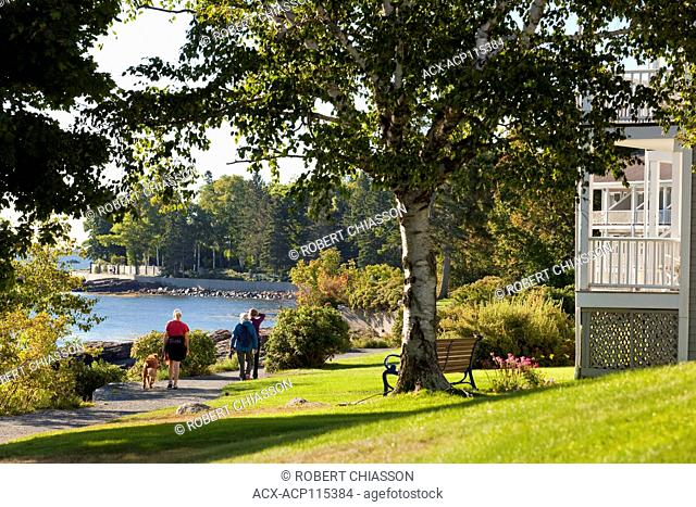 Popular 'Shore Path' that starts in Bar Harbor and extends three quarters of a mile along Frenchman Bay, Bar Harbor, Maine, U.S.A