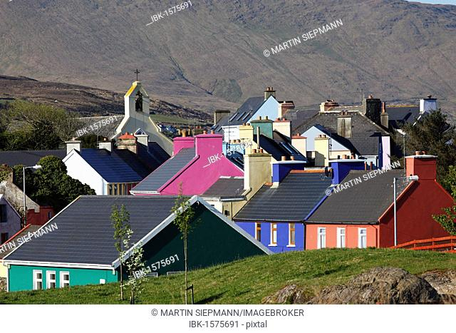 Colourful houses, Eyeries, Beara Peninsula, County Cork, Ireland, British Isles, Europe