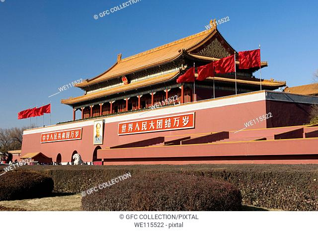 Tiananmen Gate or Gate of Heavenly Peace, entrance to the Forbidden City at Tiananmen square, Beijing, China