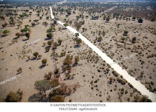 Gravel road to Maun,aerialview. Botswana