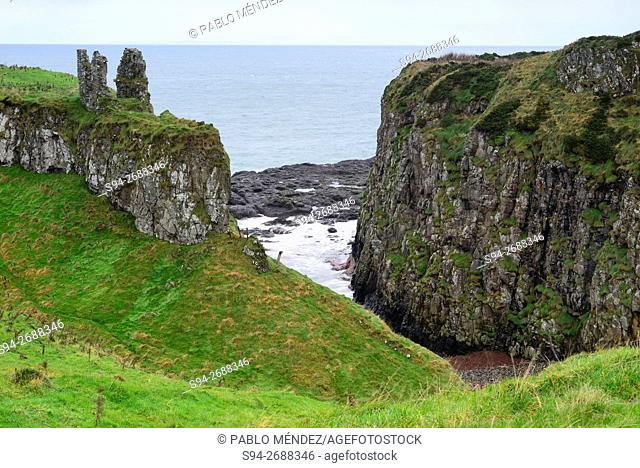 Ruins of the castle of Dunseverick, Antrim county, Northern Ireland