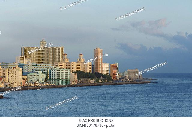 Havana city skyline and ocean, Havana, Cuba