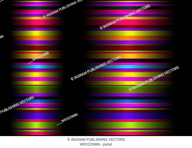 Brightly colored background with flowing ribbon lines and crease