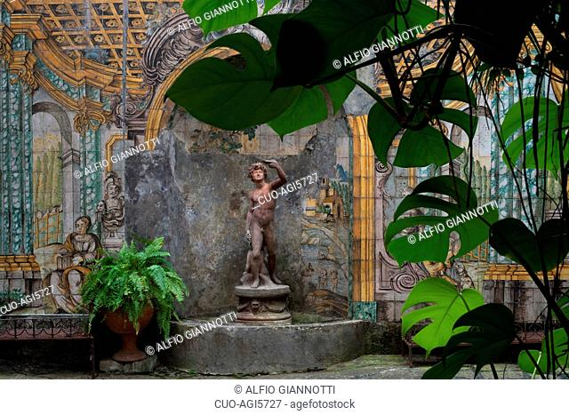 Traditional internal courtyard decorated with typical majolica tiles, Sorrento
