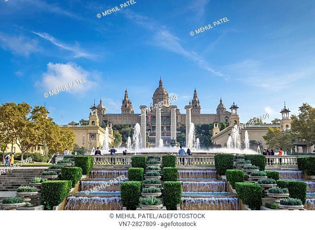 The Magic Fountain of Montjuic and the Palau Nacional which houses the Museu Nacional d'Art de Catalunya (MNAC), Barcelona - Catalonia, Spain