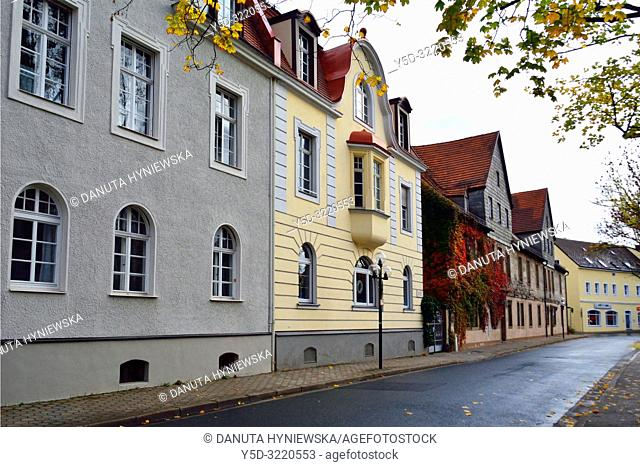 Street scene, facades traditional historic townhouses, Munzgasse street next to Margravial Opera House, old town of Bayreuth, capital of Upper Franconia